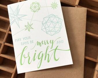 letterpress merry bright christmas polyhedron card