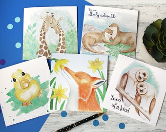 Special offer** Animal card set, birthday cards, cute cards, card pack, card multibuy