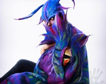 Dragon  shawl / Wings shawl / Silk scarf / Nuno felting / Handmade felted scarf / Merino wool / Scarf wings/ Made to Order.