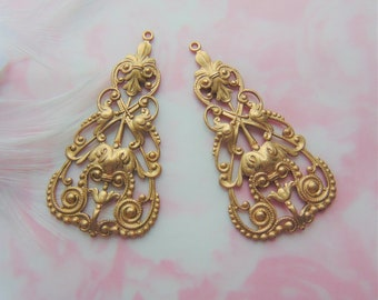 RAW BRASS Large (1 Pair) Filigree Tea Earring Drop Connector Stamping ~ Finding (C-412)