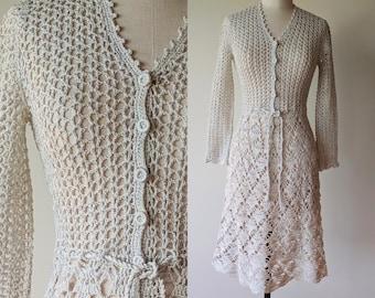 60's-70's crochet dress / Lillie Rubin cotton with metalic silver threads / crochet wedding dress / boho hippie dress size small