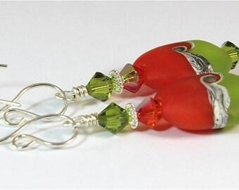 Lampwork & Swarovski Crystal Earrings Orange Green Ivory Silver - SRAJD