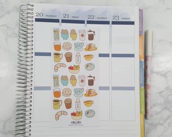 32 Doodle Breakfast stickers, Breakfast, Stickers, Planner Stickers, All Planners