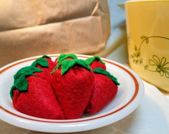 All Natural Wool Felt Food - Miniature Strawberries