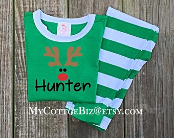 EARLYBIRD Pricing on Kid's Christmas Pajamas, Red and Green Stripes, Matching Doll Clothes, Holiday Photos,
