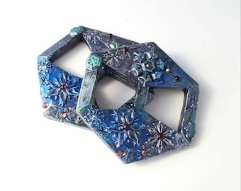 Snowflake Scarf Slide, Scarf clip, shirt slide. Pewter finish with blue watercolor and Purple gems. For thin or light scarves, shawls