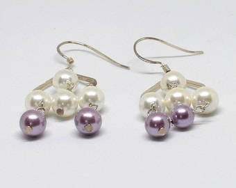 White and Lilac Pearl Chandelier Earrings
