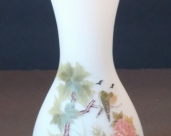 Frosted Vase with Hand Painted Tranquil Garden