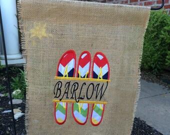Custom Summer Flip Flop Burlap Garden Flag