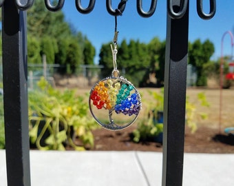 6 color Crystal Rainbow & Silver Wire Tree of Life Pendant