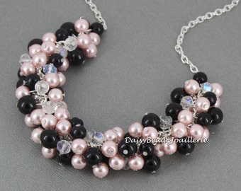 Bridesmaid Gift Jewelry Gift for Her Pink and Black Cluster Necklace Bridal Gifts Black Cluster Necklace Wedding Jewlery