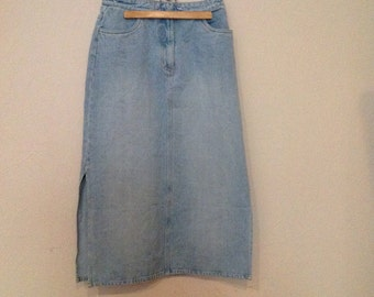 Faded Blue Denim Skirt Faded Denim Maxi Skirt Medium