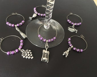 Set of 6 wine glass charms • beaded wine glass charms •  wine lovers gift •  choice of bead colour