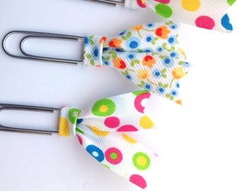 Floral planner clips, Bias tape bible clip, set of 4 paper clips, book page marker, colorful dots planner acessory, gift for teacher pc039