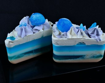 Blueberry Soap Wedge in our Satin Soft Luxury Soap Base, Made in UK, Blueberry Soap, Handmade Cold Process Soap