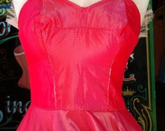 Handmade 1950s Red Tafetta Can Can Costume