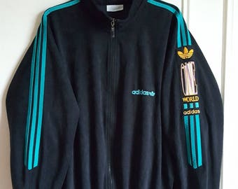 "Jacket sports Adidas ""One World"" Vintage years 80-90 Made in France size L (L/XL)."
