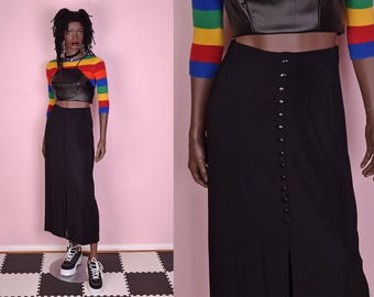 90s Black Button Down Skirt/ Small/ 1990s