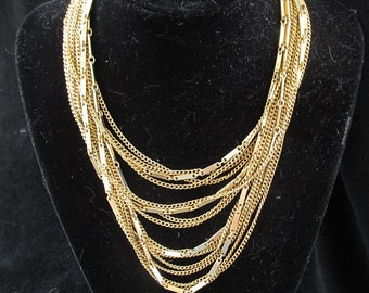 Vintage Multi Strand Chain Necklace 1940s Costume Gold Colored Metal Retro Mid Century