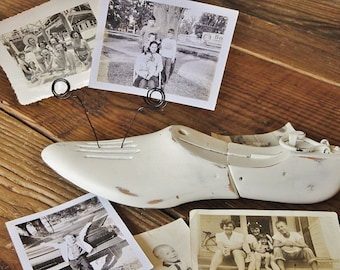 Vintage Wood Shoe Form, Repurposed Photo Holder, Chippy, Shabby, Hand Painted Old White