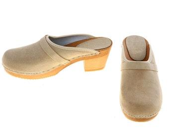 High heel Clogs suede leather beige