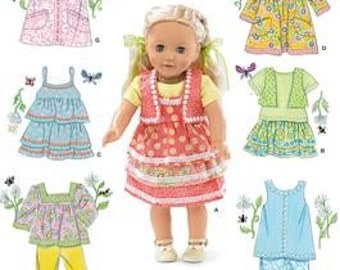DOLL CLOTHES PATTERN / Fits American Girl - 18 Inch Dolls / Seventies Styles