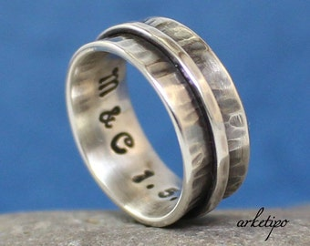 Personalized Sterling Silver Ring / Wedding Band.  Men's / Women's Ring.. Personalized / Custom Ring / Band..