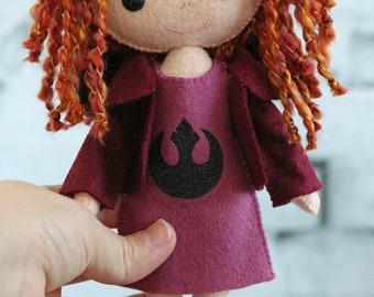 Gingermelon doll, Gingermelon, My Felt Doll, Gingermelon girl, felt doll, heirloom doll, doll, Star Wars doll