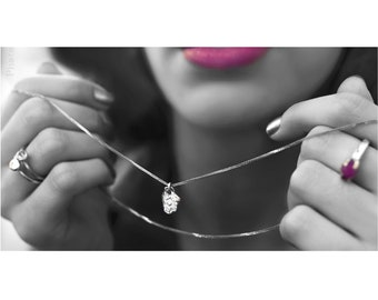 925 sterling silver necklace chain, Brand logo silver pendant, Nefertiti batkol logo necklace,  Logo silver necklace,  organic pendant style