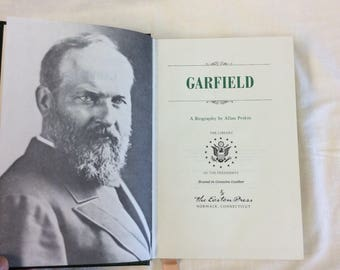 "James Garfield, Biography By Allen Peskin.c.1960's From ""Library of the Presidents"" Leather Gilded Binding. Silk Moire Papers"
