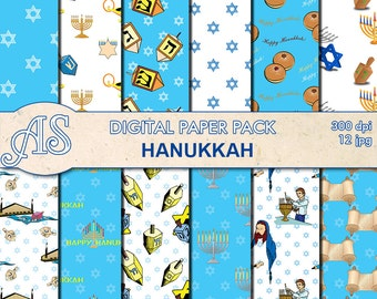 Digital Happy Hanukkah Pack, 12 printable Digital Scrapbooking papers, Jewish Digital Collage, Instant Download, set 257