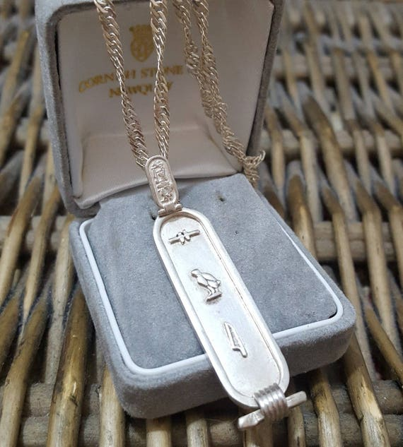 Vintage solid silver necklace egyptian cartouche hieroglyphs like this item aloadofball Image collections