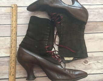 Vintage Suede Uppers And Leather Boots With Original Laces
