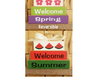 Welcome Spring, Welcome Summer, Reversible block set, Blocks, Seasonal Blocks, Wood block set, Spring, Summer, Welcome, Flowers, Watermelon