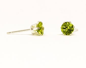 Peridot gemstone studs, sterling silver stud earrings, August birthstone, 4mm dainty earrings