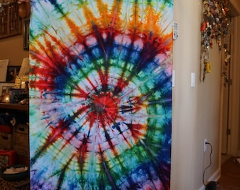 Hand dyed rainbow spiral fabric remnant