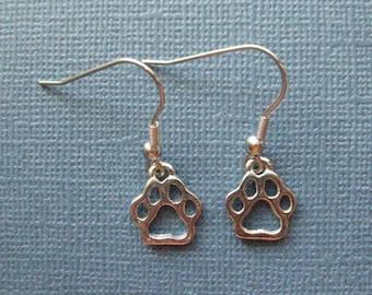 Paw Print Earrings - Paw Earrings - Animal Print Earrings - Animal Earrings - Dangle Earrings - Animal Jewelry -- E107