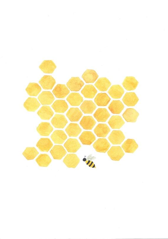 original printable painting yellow honeycomb bee nursery