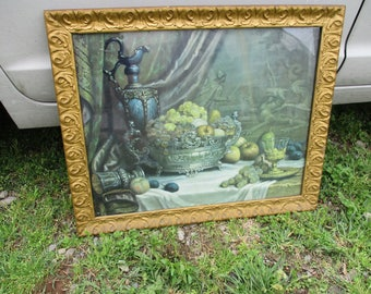 REDUCED Antique Look Shabby Gold Gesso Framed Still Life Fruits Fancy Table Setting Print Victorian Style Picture Frame