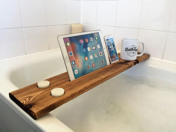 Dark Oak Personalised Engraved Solid Wood Bath Tray Bath Caddy