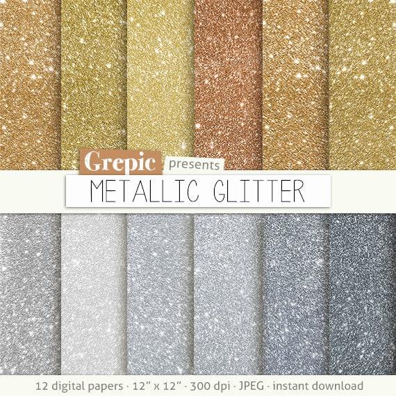 Carta metallizzata digitale glitter metallico con for Parete bianca con glitter argento