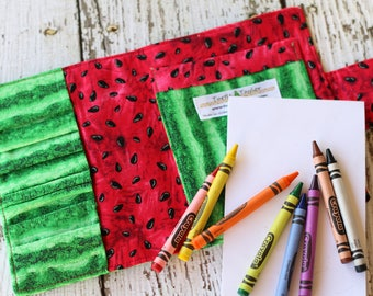Crayon Wallet. Crayon Roll. Crayon Organizer. Crayon Case. Travel Toy. Quiet Book. Crayon Tote. Stocking Stuffer for Kids. Drawing Kit.