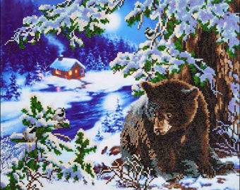Paint with Diamonds, Rambling Bear, Diamond Embroidery Kit, Diamond Dotz, Home Wall Decor, DIY, Bear Decorations