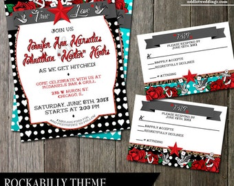 Rockabilly Wedding Invitation | Polka Dot Stationery | Tattoo wedding invitations printable files | DIY Wedding