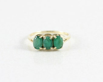 10k Yellow Gold Natural Emerald Ring Band Size 10 3/4
