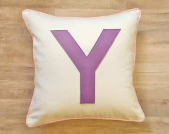 Big Block Letter Pillow Cover, Custom Initial Pillow, Purple Monogram Pillow with Piping, Birthday Gift, Wedding Gift, Capital Letter Blue