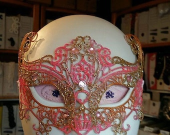 mask, Wolf synthetic soft pink and gold