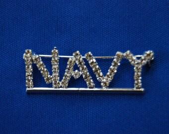 Rhinestone Bling NAVY Pin