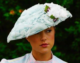 Vintage 1940s Floral Cartwheel Hat, Vintage Millinery, 40s Wide Brim Hat, Vintage Hat, Vintage millinery, Casablanca Hat, Vintage Saucer Hat