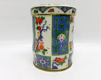 Vintage tea canister - bright florals